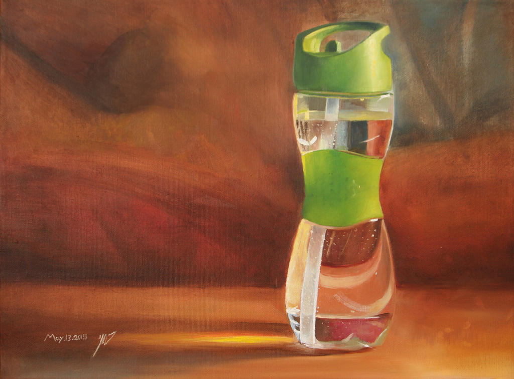 water bottle still life painting by roni-yoffe