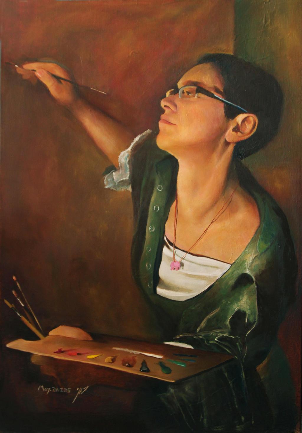 Self portrait as artemisia gentileschi by roni-yoffe on