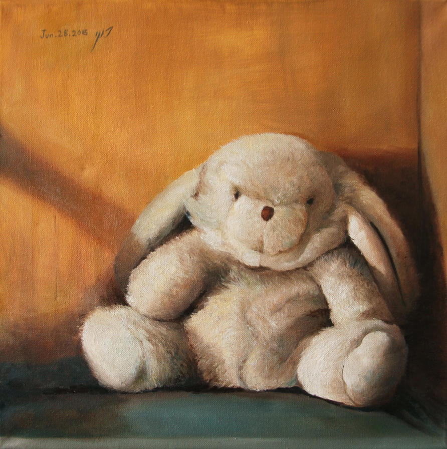 Rabbit doll sill life painting by roni-yoffe