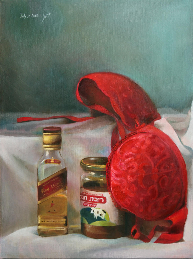 memories from last night - still life painting by roni-yoffe