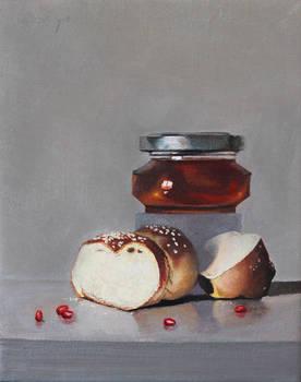 Challa bread with honey jar