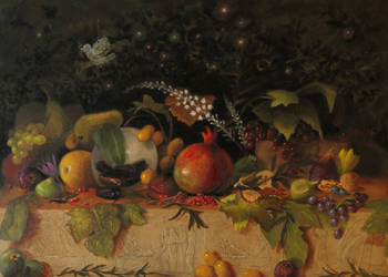 A Pomegranate within its leaves, and all the fruit