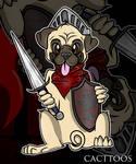 Pug Warrior Dark Souls by sofficixribelle
