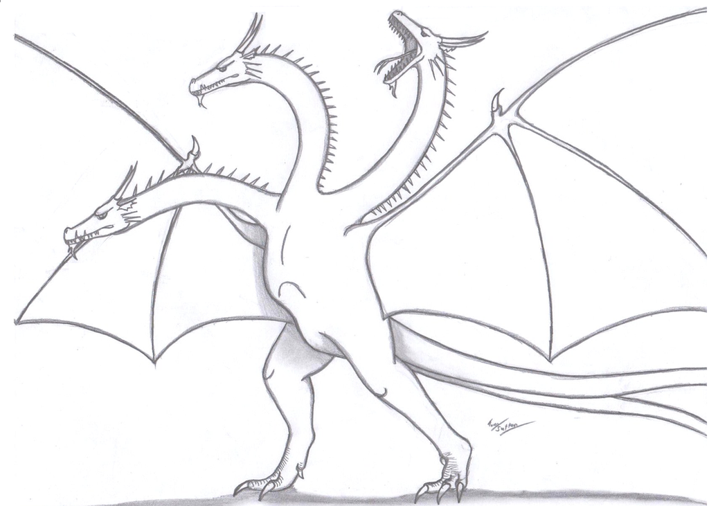 King Ghidorah By King Edmarka On Deviantart Drawing King