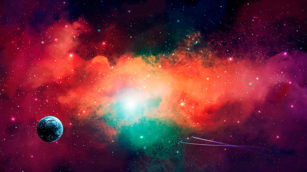 Earth in colorful nebula (auction) by Fug4s
