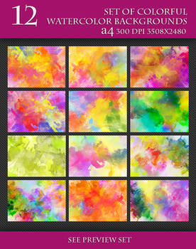 Set of Beautiful Watercolor Background.