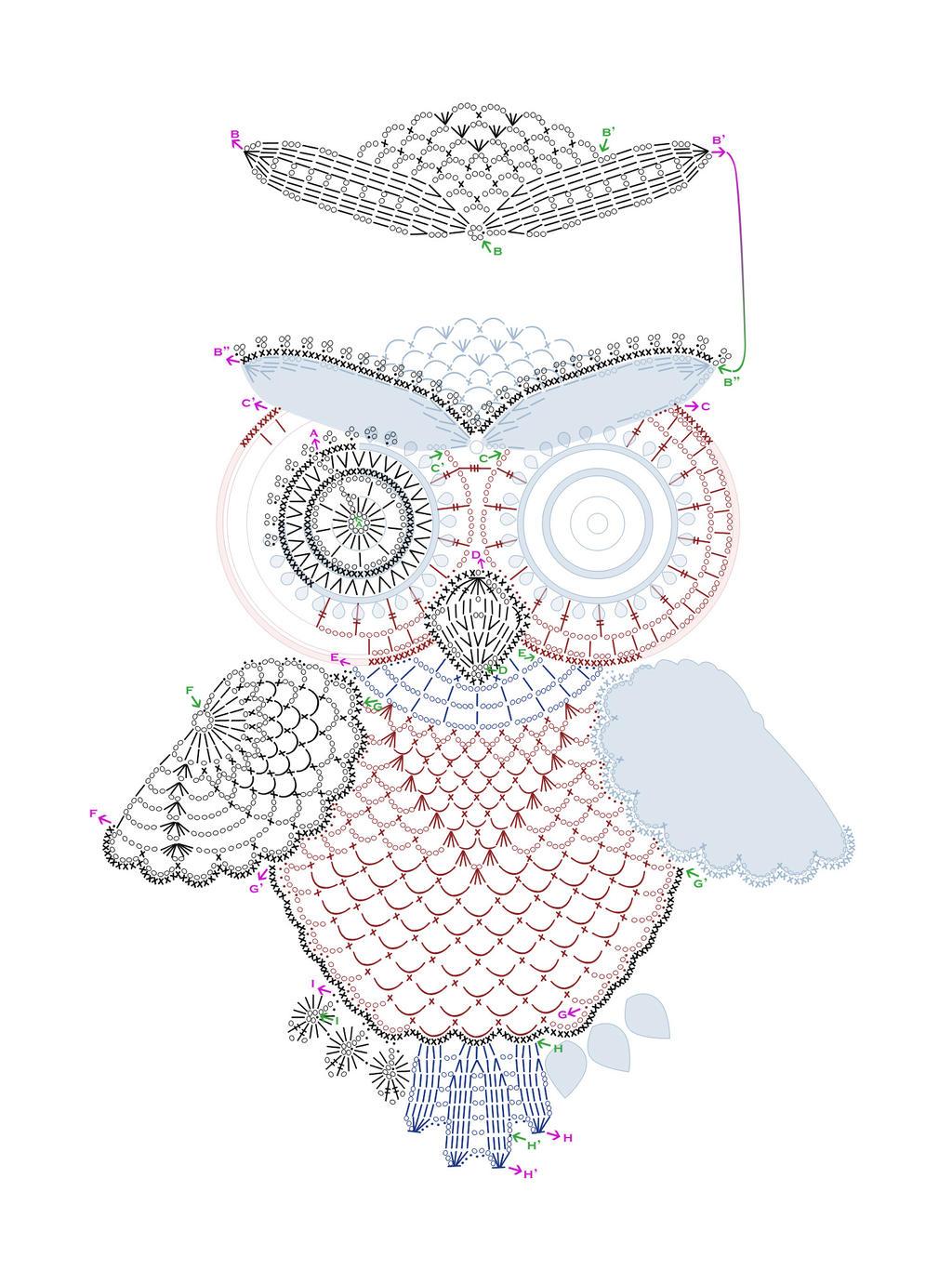 Схема вязания объемной совы крючком 18