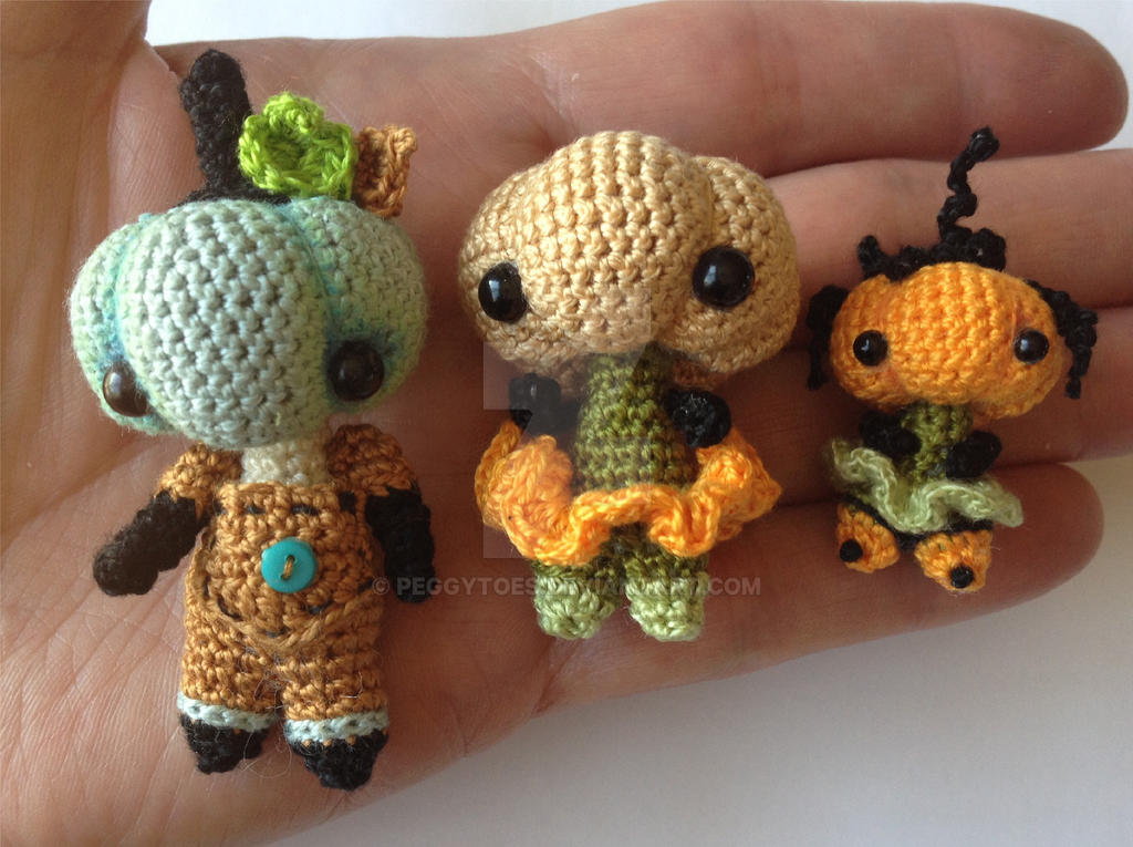 Micro and Mini Pumpkin Head Crochet Dolls by peggytoes