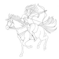 Elven Horse Archer(Lines) by Curlygurly222