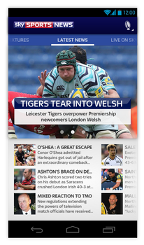 Sky Sports News Android App Redesign