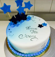 Starry blue cake by buttercreamfantasies
