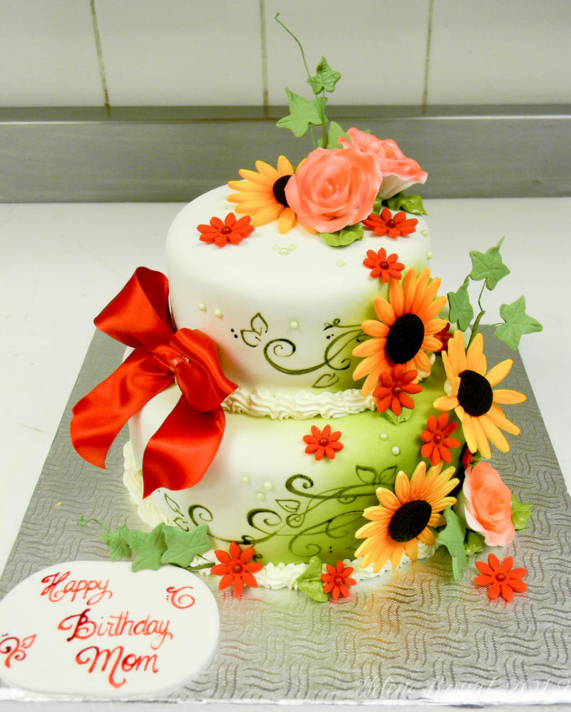 Flowers Birthday Cake By Buttercreamfantasies On Deviantart