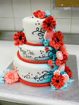 Red and turquoise cake side a