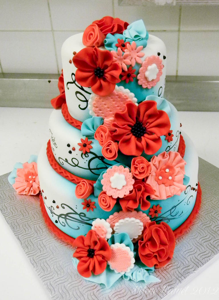 Red and turquoise cake side b by buttercreamfantasies