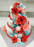 Red and turquoise cake side b