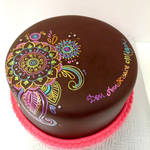 Hand painted mandala cake