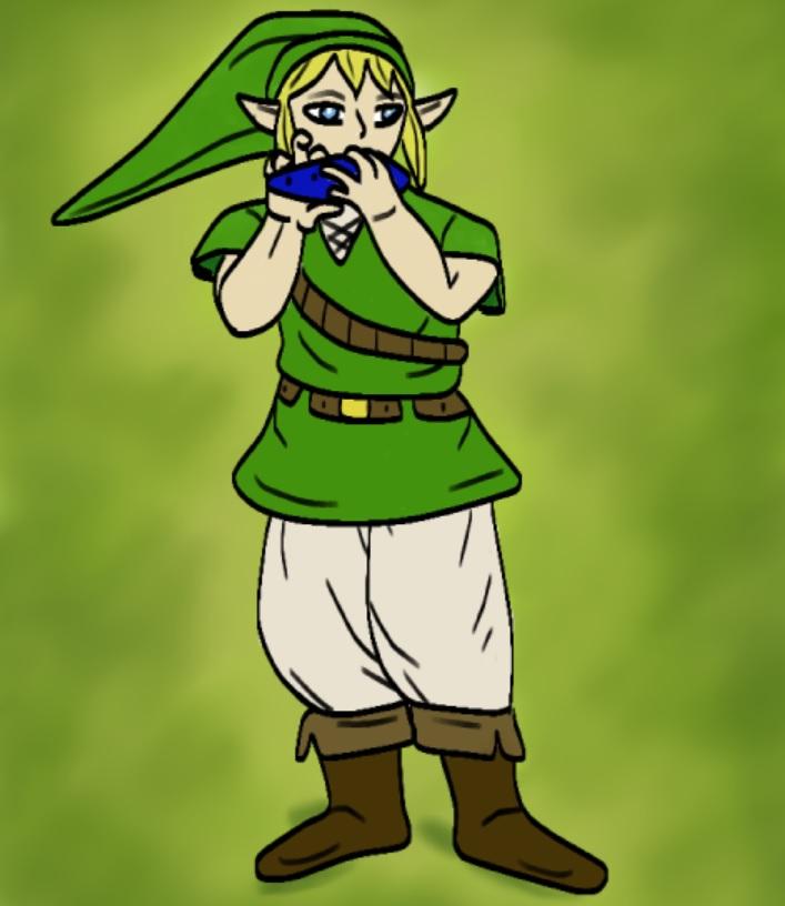 Link tocador de ocarina by Guspf