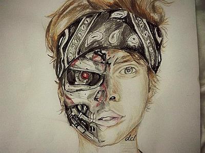 Half Terminator Half Human Drawing by orlaigh on DeviantArt