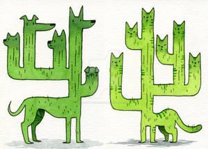 Cactus Dog and Cat