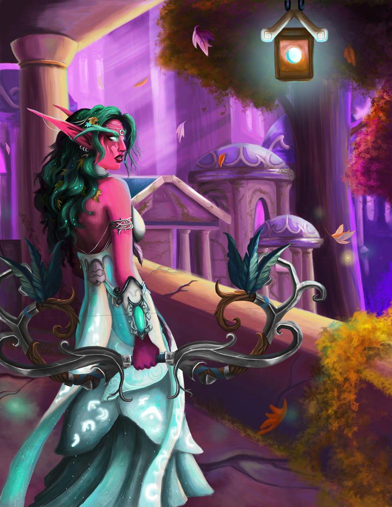 Tyrande Whisperwind In Darnassus by NotBySight1109