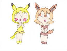 Chibi Pika-Chan And Eeva-Chi By Pokemonmasterish