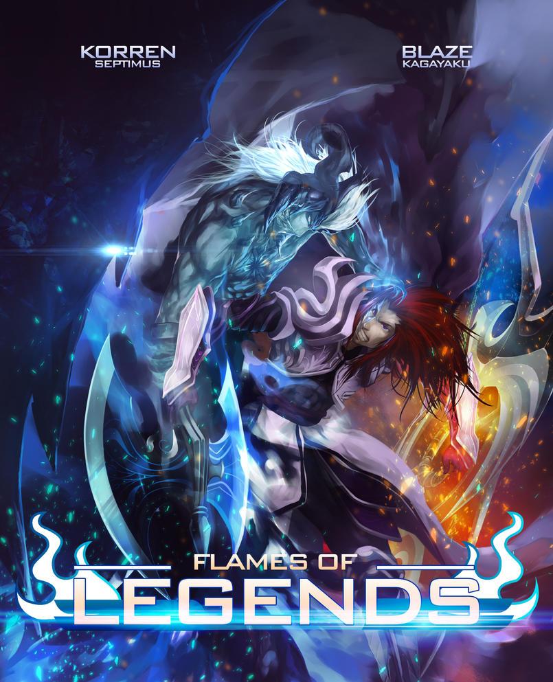 Flames of legends: Book cover by BlazeKagayaku