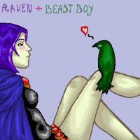 Raven and Beast Boy oekaki by hemachandra