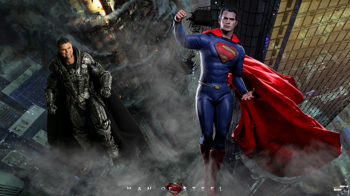 Man Of Steel Kal-El Vs Zod Hot Toys HD Wallpaper by    Man Of Steel Wallpaper Zod