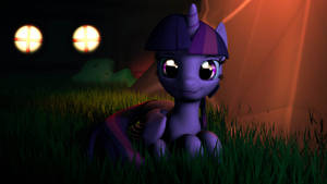 Twilight Sparkle out at night by yellencandy