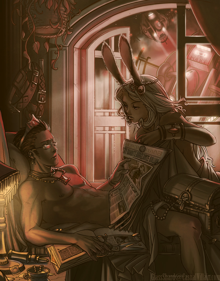 Balthier and Fran in bed together