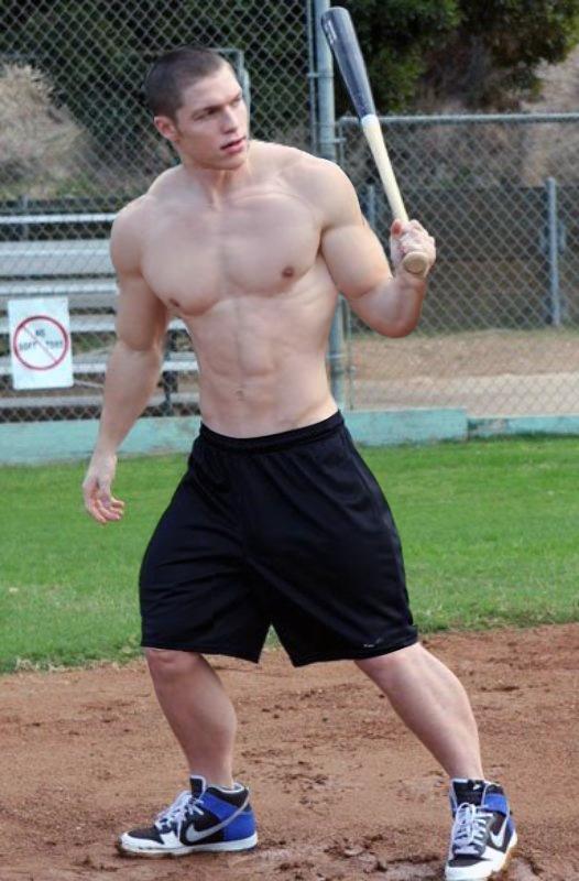 Baseball player shirtless