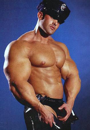 Men black uniforms muscle in