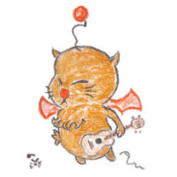 A moogle with a ukulele by JohnMoogle