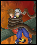 Sora and Riku in Kaa's Coils by boundaru