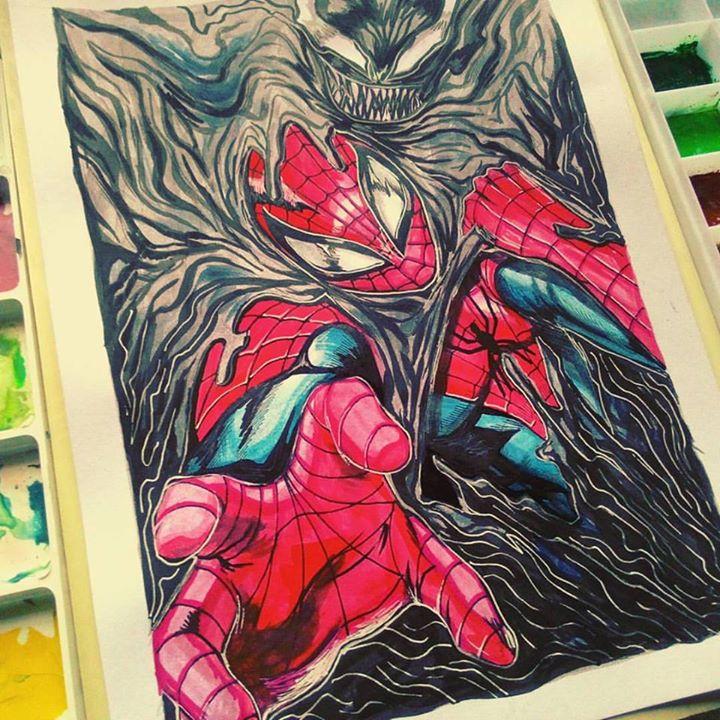 Spider-Man and Venom Traditional by DarroldHansen