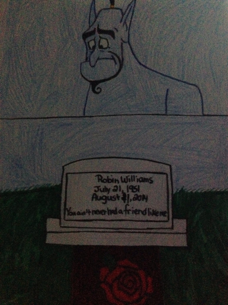 Genie looking at the gravestone of Robin Williams by ...