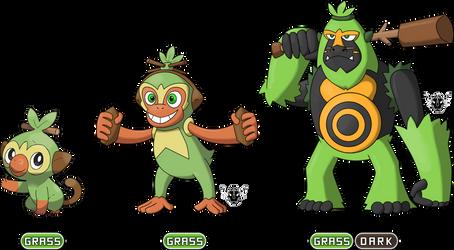 My Grookey fake evolutions by rizegreymon22