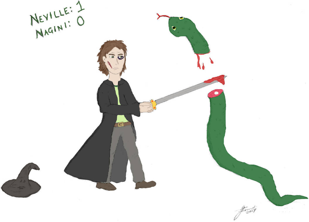 7. Neville vs. Nagini by fire-works