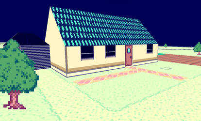 Blue Roofed Country House - Lunabilly3D/Cratoria by Cratoriax