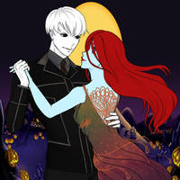Jack and Sally At The Pumpkin Patch  by Ellecia