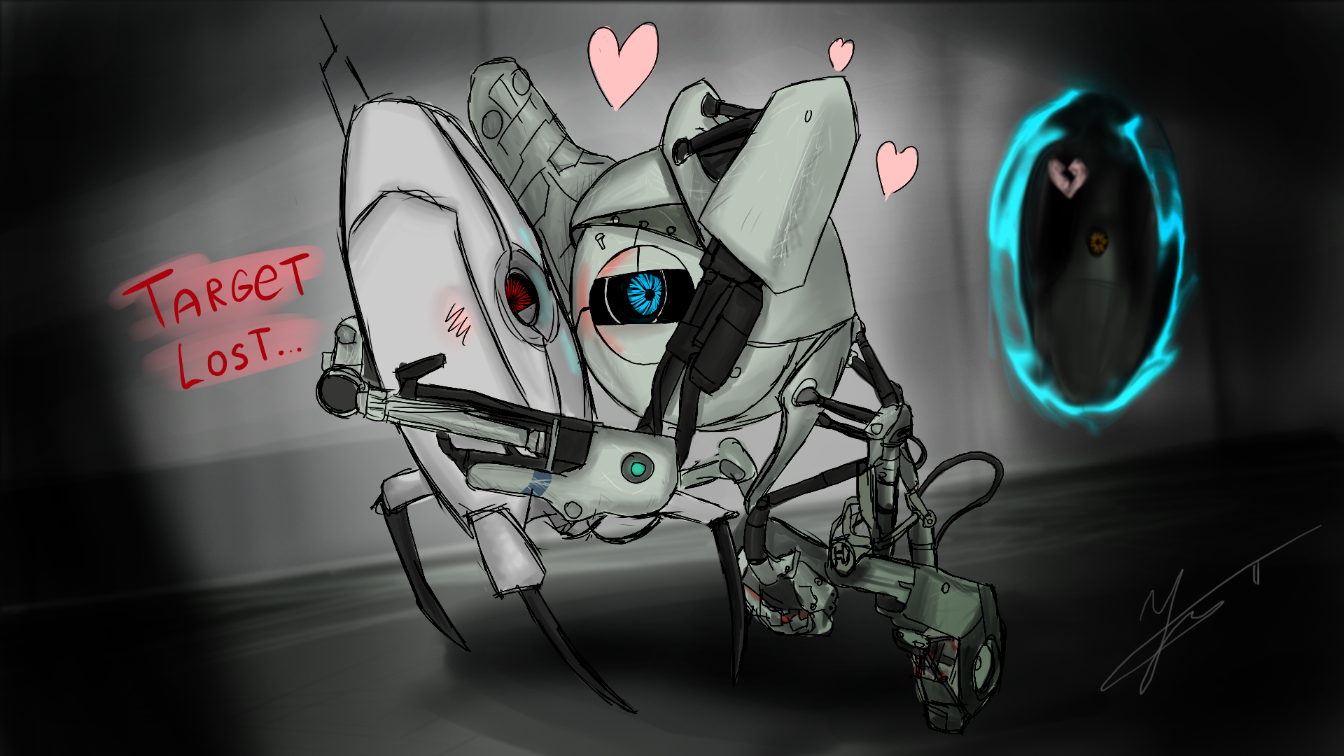 Portal 2 Robot Chell Glados Turret Girls 3D Graphics Games