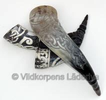 Collection of carved horns by Vildkorpens-Laderlya