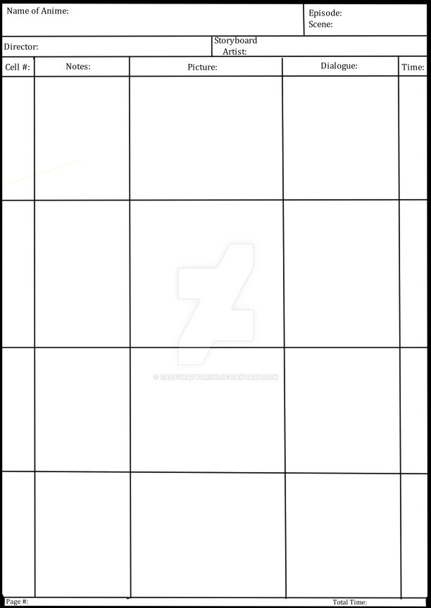 Anime Storyboard Template By Cassyhattori63 On Deviantart
