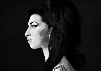 Amy Winehouse Black and White Technique Practice by QueenKirriana