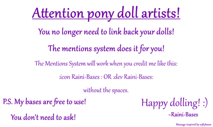 ATTENTION PONY DOLL ARTISTS by Raini-Bases