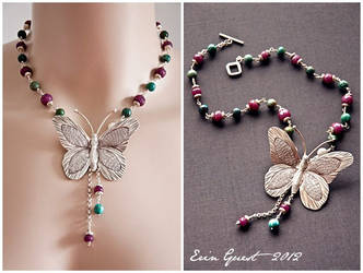 Ruby and Turquoise Lepidoptera by Renilicious