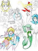 Sailor Moon doodles by babochka