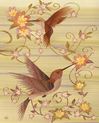 Hummingbirds - Marquetry by amazoncanvas