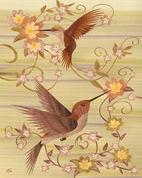 Hummingbirds - Marquetry