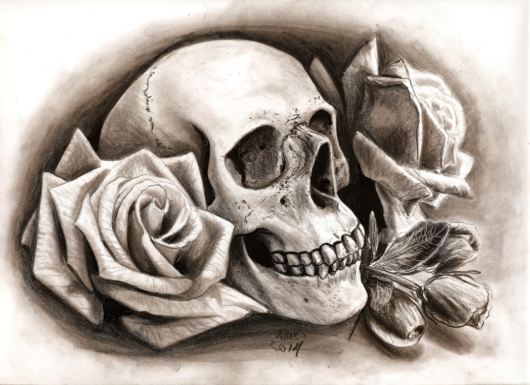 Skull With Roses By Jamesboots On Deviantart